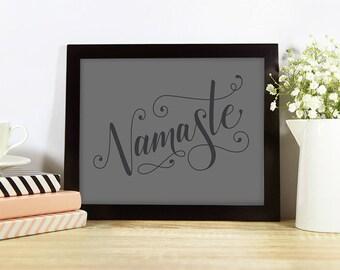 Namaste – inspiration, yoga studio, motivation, breathe, zen, wall art, handlettering, modern calligraphy, typography, art, decor, charcoal