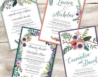 Floral wedding invitation, custom printable wedding invitation, rsvp card, thank you card, digital,