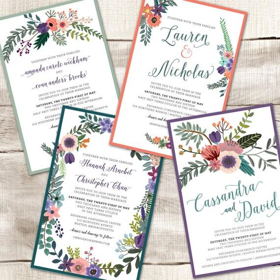 Floral Wedding Invitation Custom Printable Wedding Invitation Rsvp Card Thank You Card Digital
