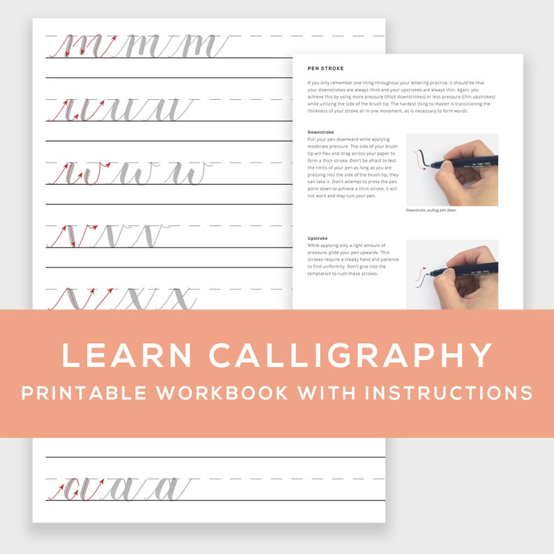 Learn Calligraphy Printable Workbook w/ Instructions  learn image 0