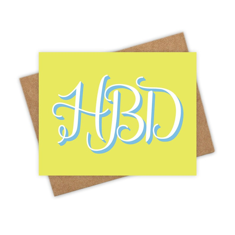 HBD  happy birthday greeting card neon green fun friend image 0