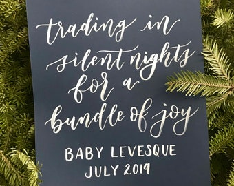 Custom Hand Lettered Baby Announcement –birth announcement, pregnant, new parents, calligraphy, brush script, hand lettering, handmade