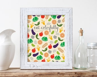 Eat Colorfully, kitchen wall art, icon design, handlettering, digital print
