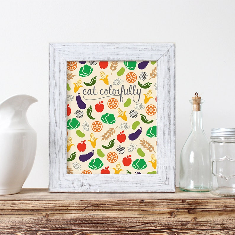 Eat Colorfully kitchen wall art icon design handlettering image 0