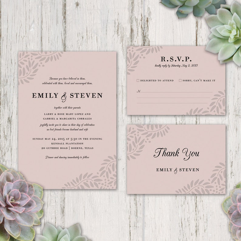 picture about Etsy Wedding Invitations Printable named Clic wedding day invitation, printable wedding ceremony invitation, rsvp card, thank on your own card, electronic, leaves, vines, succulents