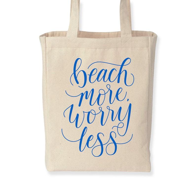 Beach More Worry Less  tote bag beach bag summer tote image 0