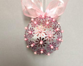 Silver With Pink Sequin Christmas Ornament