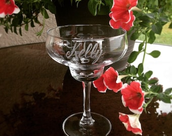 Hand Engraved Personalized Margarita Glass