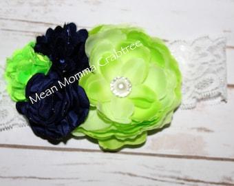Neon Green & Navy Blue Hair Bow