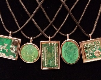 """18"""" """"Circuitry"""" Handmade Small Green Circuit Board Pendants on Black Faux Leather Cording"""