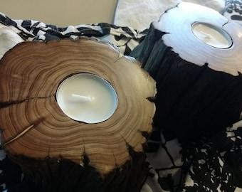 "4"" ""Light Cedar"" Woodland Inspired Handmade Tea Light Candle Holders"