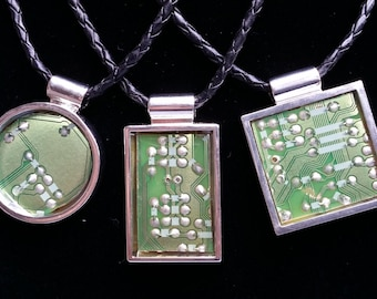"""18"""" """"Circuitry"""" Handmade Large Green Circuit Board Pendants on Braided Black Faux Leather Cording"""