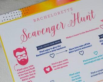 Bachelorette Scavenger Hunt Game - Printable Instant Download - Watercolor