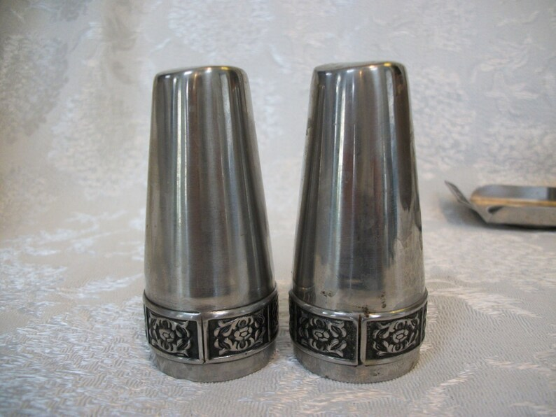 Vintage Salt and Pepper Condiment Set With Tray Steel Chrome Metal Mid Century