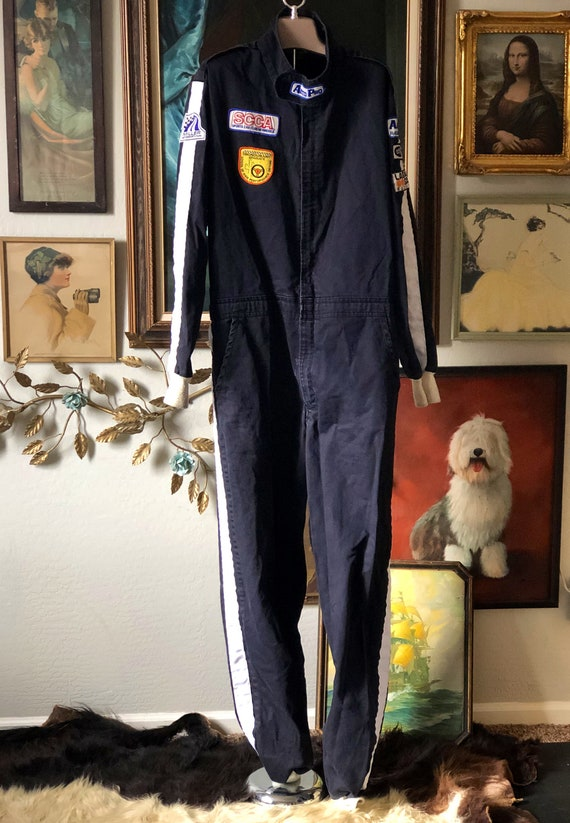 Vintage Indie Racing Coverall with Patches