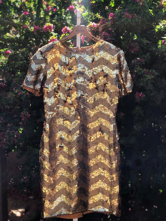 Vintage Golden Chevron Sequin Party Dress