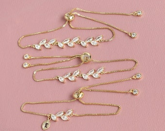 Adjustable Best friend Bridesmaids Bracelet Gifts, flower girl Bracelet, Personalized initial Bracelet, Dainty leaf Bracelets,Forest Wedding
