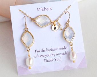 Best friend Bridesmaids Gifts Bracelet and earrings, Personalized BirthStones initial Bracelet and earrings, flower girl Bracelet, ON SALE