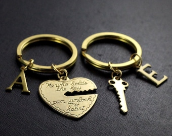 He Who Holds The Key Gold Keychain Heart His And Her Boyfriend Girlfriend Gift Valentines Day 2 Keychains ON SALE