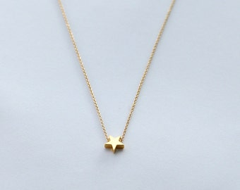 gold star necklace, mini 14k gold plated star necklace, tiny gold star necklace,black friday