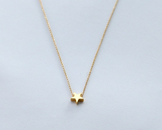 14 kt gold necklace star necklace baby necklace 341 lovely necklace Gold star necklace tiny star necklace gold necklace minimalist