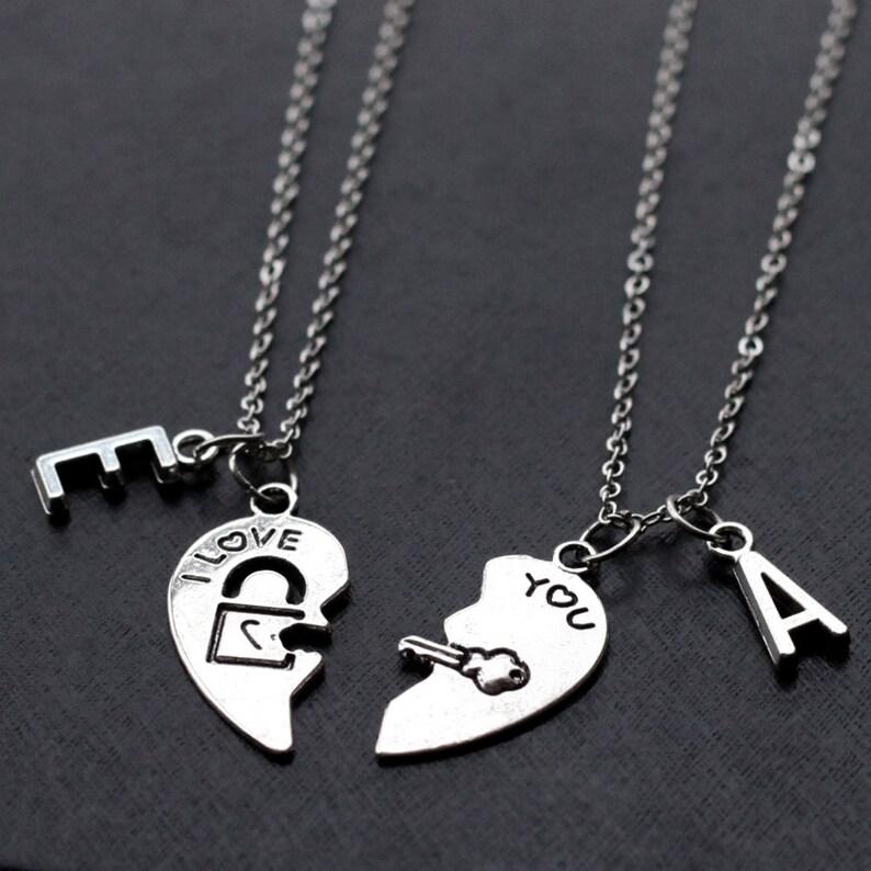 fa8d77f045817 his and her necklace, boyfriend girlfriend gift, valentines day gift,  initials friendship Best Friends , broken heart set, 2 necklaces