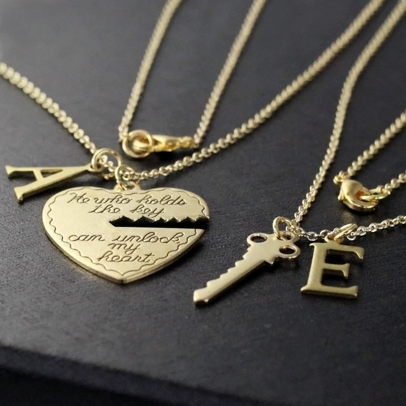 3586bf5078e7b boyfriend girlfriend gift, He who holds the key gold necklace, heart key,  his and her necklace, valentines day gift, 2 necklaces ON SALE