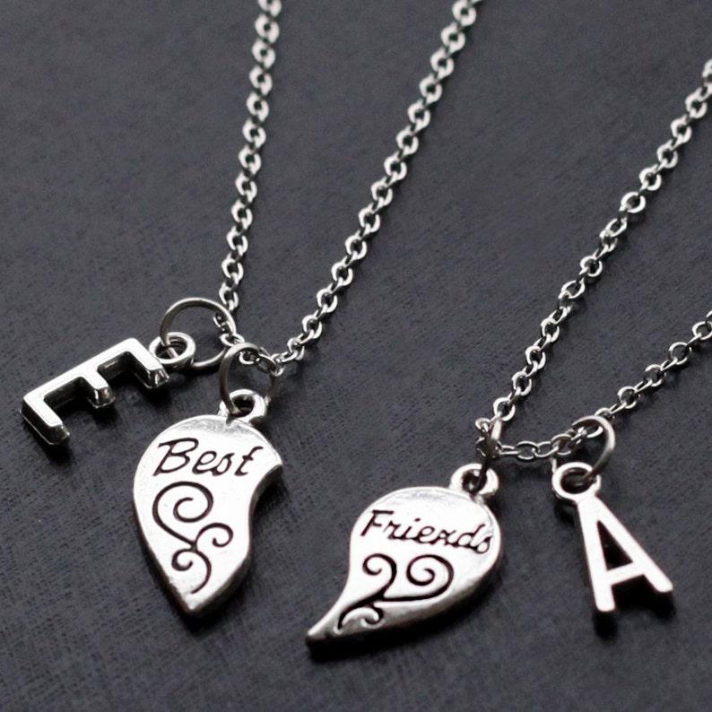 6341aa4df74 Best Friends necklace initials friendship necklace set | Etsy