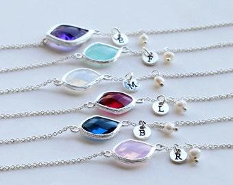 Bridesmaids Bracelet Gifts, Personalized BirthStones initial Bracelet, flower girl, White Pearl Bracelet wedding jewelry, best friend gifts