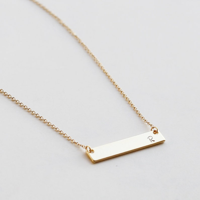 15ce95986a Personalized Bar Necklace Name Gold Bar Necklace Bridesmaid   Etsy