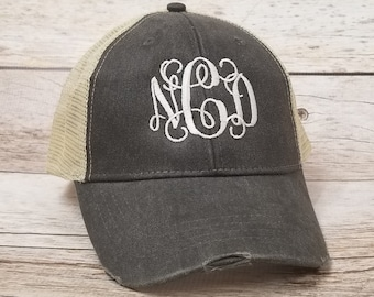 51a9329511320 Monogrammed Hats Embroidery and Personalized by TheCraftyStitches