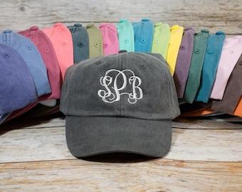 Monogram Hat, Custom Embroidered Monogram Hat, Embroidered Hat, Summer Hat, Personalized Hat, Custom Hat, Monogrammed Hat, Distressed Hat