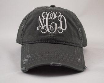 Distressed Hat, Monogram Hat, Distressed Monogram Hat, Personalized Hat, Custom Hat, Monogrammed Hat, Distressed Hat, Pigment Dyed