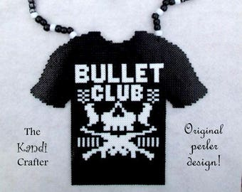 Bullet Club T-shirt Perler Bead Kandi Necklace Rave