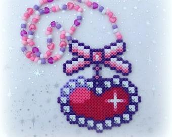 "Bow & ""Diamond"" Heart Kandi Perler Bead Necklace Rave"