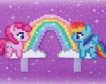My Little Pony Birthday Cake Topper Rainbow Dash Pinkie Pie made from Perler Beads