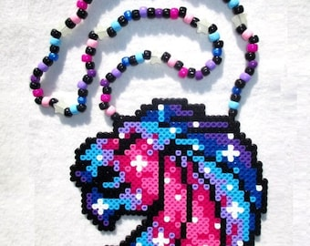 Seven Lions Galaxy Kandi Perler Art Beaded Necklace Rave PLUR EDM