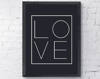 "Typography ""Love"" Instant Digital Download Print, Modern  Black and White Wall Art // Eat Pray Love"