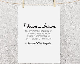 """Typography """"I Have A Dream That My Children Will Not Be Judged"""" Instant Digital Download Print, Motivational Martin Luther King Jr Day Quote"""