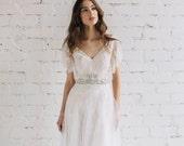Boho Wedding Dress , Short Sleeve  Scalloped Edge Lace Gown,  Swarovski Crystal Sash Wedding Dress , Open Back Backless  Gown  - EVA