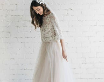 ec24a44acd Bohemian Wedding Dress ,Two Piece Wedding Dress, Bridal Separates, Nude Wedding  Dress , Bridal Tulle Skirt, Lace Wedding Top- PEONY
