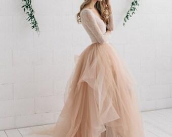 Blush Wedding Dress ,Bridal Separates ,  Two Piece Wedding Dress, Long Sleeve Wedding Dress , Lace Bodysuit , Bridal Tulle Skirt- MELANIE