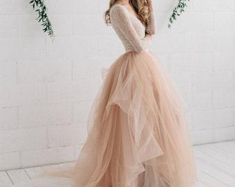 Ombre Wedding Dress - MELANIE /Two piece Wedding Dress /Copper Blush Bridal Tulle Skirt / Long Sleeve Lace Wedding Top