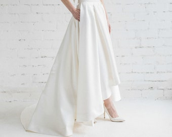 High Low Wedding Skirt , Pleated Skirt With Train, Bridal Separates , Bridal Skirt with Pockets , Ivory Wedding Skirt - LILY