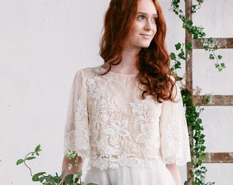 Wedding Top, Bridal Separates, Bridal Lace Top , Lace Wedding Top , Bohemian Wedding Top, Ivory Champagne Top, Beaded Lace Top - WILLOW