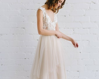 Nude Wedding Dress - ADRIANNE / Tulle nd Lace Wedding Dress with 3D decor / Wedding Dress with Open Back and Deep V Neckline