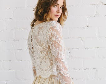 8a87a271971f Bridal Lace Top in Champagne , Ivory Beaded Lace Wedding Top with Fitted  Long Sleeves and Pearly Button Back ,Bridal Separates - CLAIRE