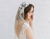 Bohemian  Wedding Veil, Bridal Veil , Lace Veil, Juliet Cap Veil,  Veil for  Boho Bride, 3D Floral Veil , Champagne Nude Ivory  - ADRIANNE