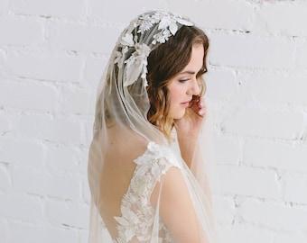Lace Juliet Cap Veil - ADRIANNE / Lace Wedding Veil / 3D Decorated Bridal Vei / Bohemian Veil / Gold Ivory Champagne Veil