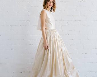 Gold wedding dress etsy silk wedding dress two piece wedding dress crop top champagne gold taffeta gown bohemian wedding dress open back wedding dress layla junglespirit Image collections
